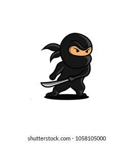 Vector Illustration of Angry Ninja with Sword