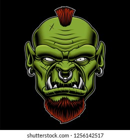 Vector illustration of an angry orc on the dark background. Mascot of warrior.