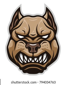 Vector illustration of angry pitbull face. Can be used as mascot.