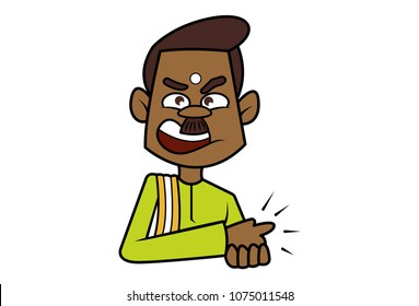 a vector illustration of a angry south Indian man