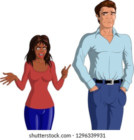 Vector illustration of an angry young black woman accusing a young depressed Caucasian man.