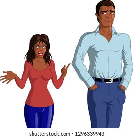 Vector illustration of an angry young black woman accusing a young depressed black man.
