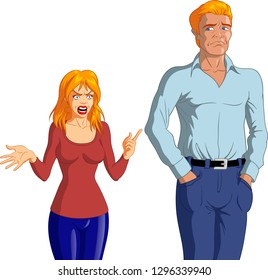 Vector illustration of an angry young blonde woman accusing a young depressed blond man.