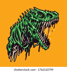 Vector illustration of Angry Zombie Green Raptor with a big mouth open and sharp teeth on the Yellow Background. Hand-drawn illustration for mascot sport logo poster t-shirt printing. Vector Logo