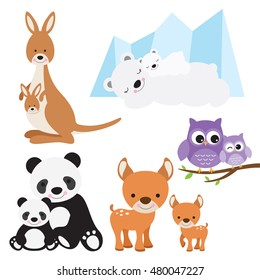 Vector illustration of animal and baby including kangaroo, polar bear, owl, panda and deer.