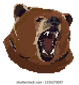 Vector illustration of animal cartoon - Pixel art style.The head roaring bear. Growling angry grizzly bear