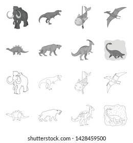 Vector illustration of animal and character icon. Collection of animal and ancient stock vector illustration.