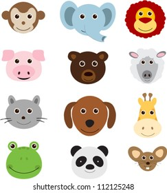 Vector illustration of animal faces