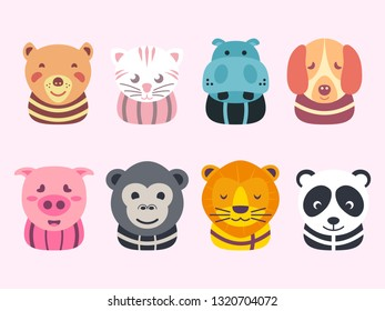 Vector illustration of animal faces. cute cartoon collections. bear, cat, hippo, dog, pig, gorilla, monkey, lion, tiger, panda