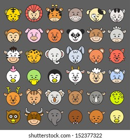 Vector illustration of animal faces. EPS10 File - no Gradients, no Effects, no mesh, no Transparencies.All in separate group for easy editing.