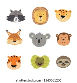 Vector illustration of animal faces including tiger, lion, Jaguar, lizard, sloth, monkey, Koala, lynx, raccoon