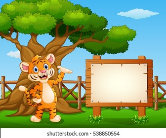 Vector illustration of Animal tiger beside the empty sign board inside the fence