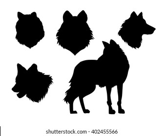 vector illustration animal wolf stamp silhouette set on white background