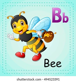 vector  illustration of Animals alphabet: B is for Bee