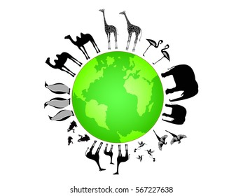 Vector illustration of animals and globe for your design