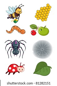 Vector illustration, animals habitat, cartoon concept, white background.