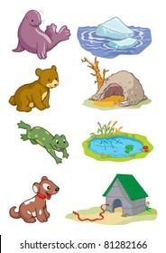 Vector illustration, animals habitat, cartoon concept, white background