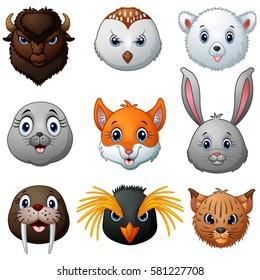 Vector illustration of Animals head cartoon collection