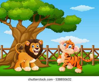 Vector illustration of Animals lion and tiger beside a tree inside the fence