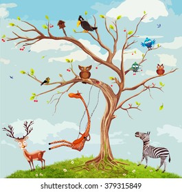 Vector illustration of animals on the tree.Bunch of cute little creatures gathered on the branches of tree