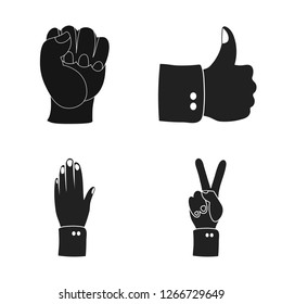 Vector illustration of animated and thumb icon. Set of animated and gesture stock vector illustration.