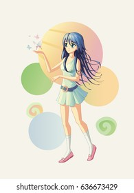 Vector illustration of an anime girl with butterflies flying around her hand.
