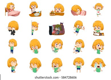 A vector illustration of Anime Manga Girl doing different activities and different expressions