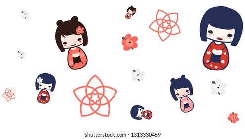 Vector illustration for anime, manga and japanese culture events: Kokeshi Doll seanless pattern. Anime styled Kokeshi Girl.