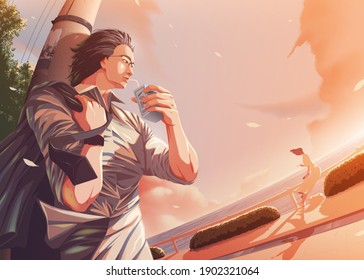 vector illustration in anime style of the office man casually relaxing at the harbor and steal a glance to the lady that sitting and having meal nearby