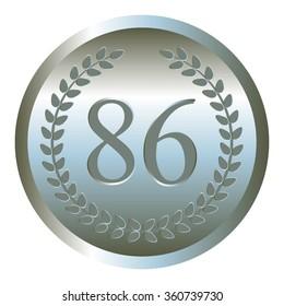 Vector illustration of Anniversary - 86. Silver laurel wreath.