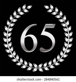 Vector illustration of Anniversary sixty five, silver laurel wreath, black background.