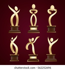 vector illustration. Annual Film Awards Oscars, abstract statue set of abstract people logos icons in different poses.