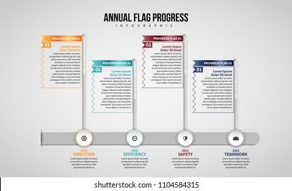 Vector illustration of Annual Flag Progress Infographic design element.