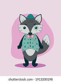 Vector illustration of an anthropomorphic wolf in a static pose and a simple background. The gentleman is dressed in a vest and a hat, accessories - a monocle and a bow tie.