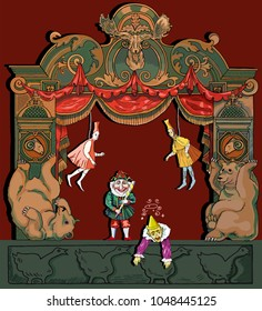 The vector illustration of antique dolls and toys on the stage of theatre with vintage ornaments, curtain and scenery