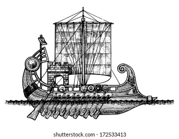vector illustration of a antique ship stylized as engraving.