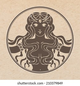 Vector illustration of antique vignette with beautiful woman silhouette in circle and coffee beans pressed out on craft brown paper