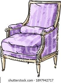 Vector illustration with antique vintage retro armchair