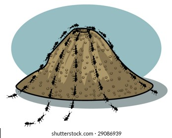 vector illustration of ants and an ant hill