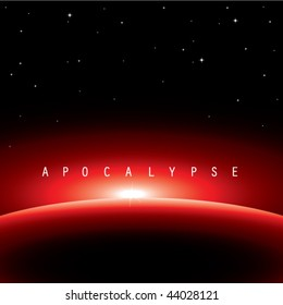vector illustration of apocalypse-satellite view from universe