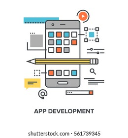 Vector illustration of app development flat line design concept