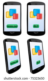 Vector illustration of app downloading and buying with touch screen mobile phone. EPS8 file layered and grouped for easy editing