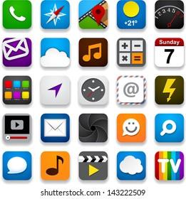 Vector illustration of app icon set. Eps10.