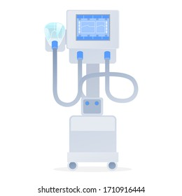 Vector illustration. Apparatus Artificial ventilation of the lungs. Resuscitation of patients. Making medical literature, articles.