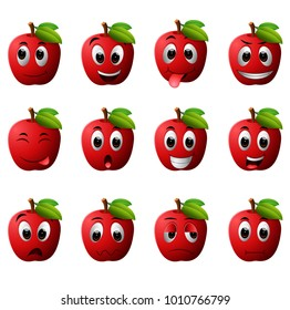 vector illustration of apple with different emoticons