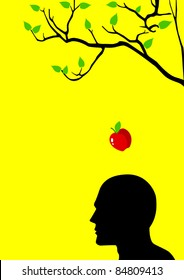 Vector illustration of an apple falling dawn to the head