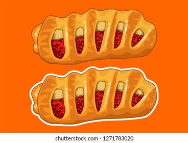 Vector illustration of Apple Strudel Bread