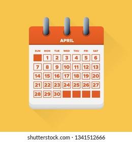 Vector illustration. April month for 2019 Calendar