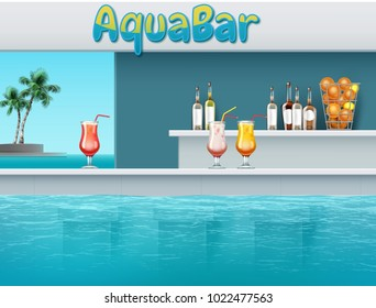 Vector illustration of aqua bar with drinks at large swimming pool in waterpark