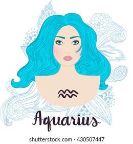 Vector illustration of aquarius zodiac sign as a young beautiful girl.